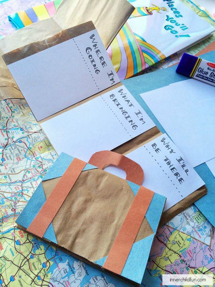 Un frasco, una maleta de papel, una bolsa y unas palomitas de maíz son algunas de las cosas que puedes utilizar para que los niños escriban sin parar.