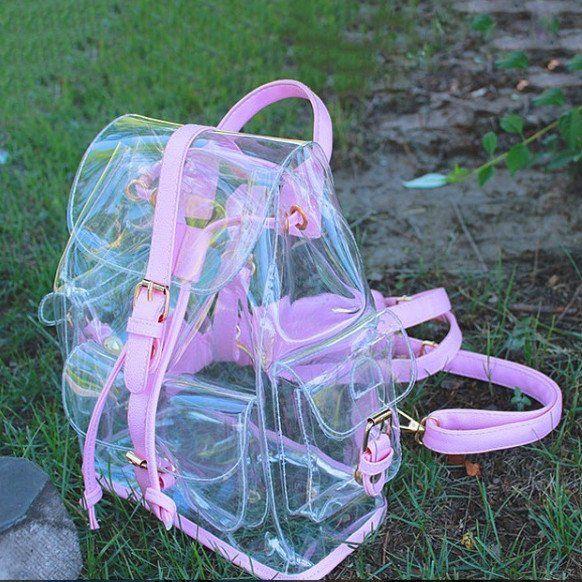 Kawaii pink/green transparent backpack SD00596