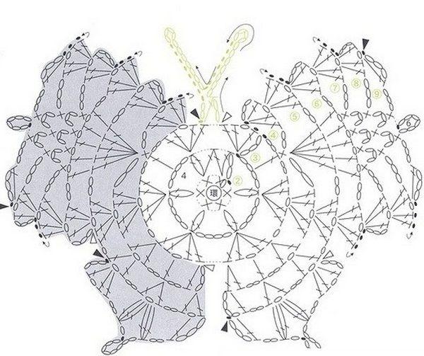Вязание бабочки крючком