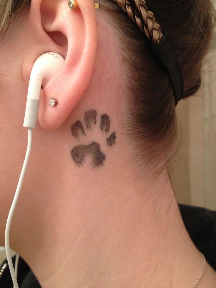 Dog Paw Tattoo Behind Ear - #traffic-club