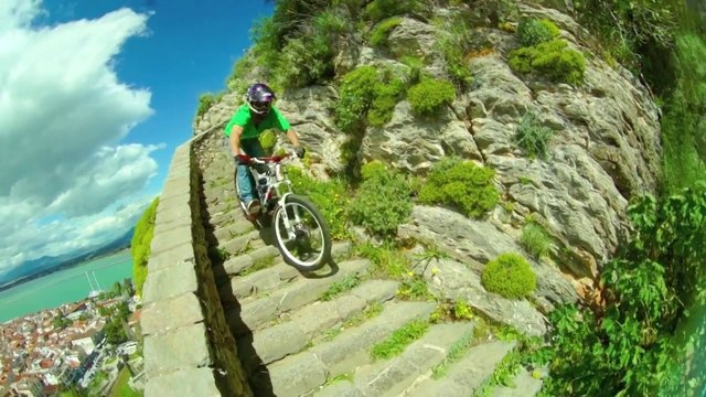 Downhill ride of the steps leading to Palamidi Fortress in Nafplio on a BMX. Breathtaking!