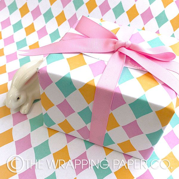 11 best easter gift wrapping images on pinterest easter gift wrap wrapco eco harlequin gelati gift wrap tied with baby pink grosgrain ribbon negle Image collections