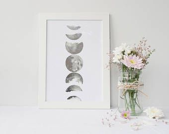 Framed Silver Foiled Phases Of The Moon Wall Art | Astrology Gift | Space Decor | Moon Wall Art | FREE UK SHIPPING |
