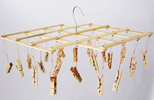 B&L Asian Household multifunctional Bamboo Clothespins Clothesline Drying Hanger Rack, 22 Clips