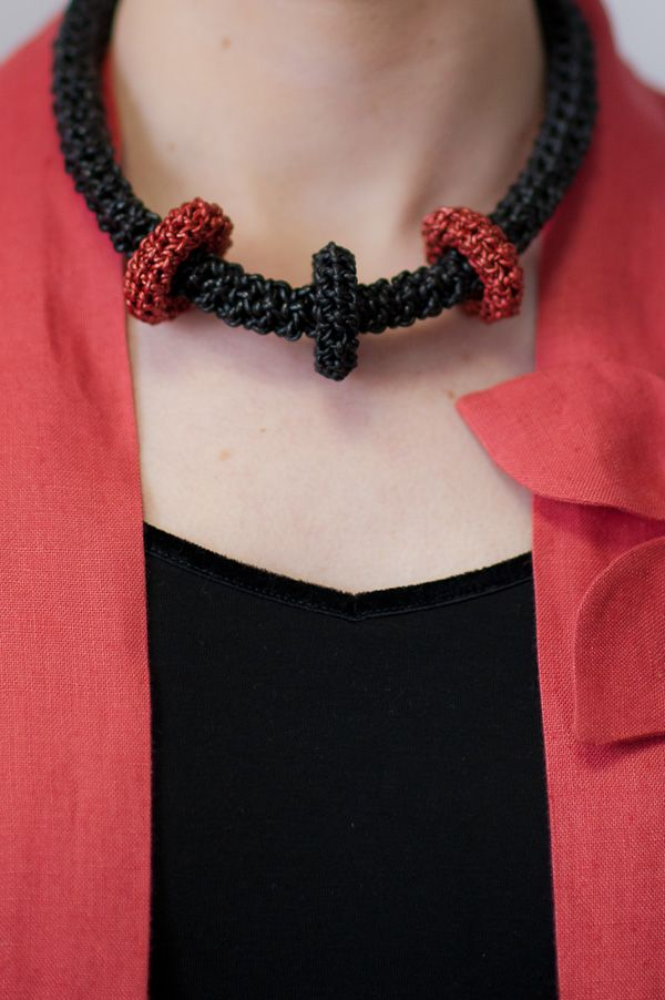 Crochet leather necklace with movable links & leather tie closing by Yvonne.