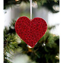 "Christmas Tree Ornament - Valentine's Day Decor - Red Heart Ornament - 2.5"" Tall"