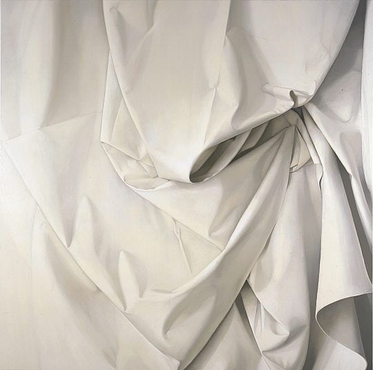 "Alison Watt.  Oil on a massive canvas.  Alison Watt does ""fabric painting."" She paints on canvas but her subject matter is cloth."