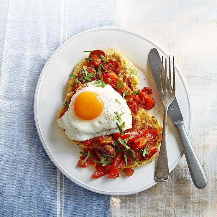 Sunny side up for a summery breakfast. Sweetcorn pancakes with fried eggs & chorizo salsa -  find the recipe at @bbcgoodfood online. Happy weekend everyone  by bbcgoodfood