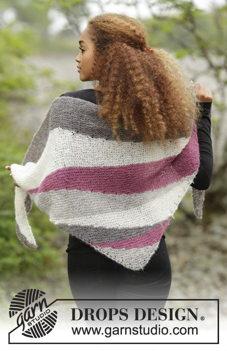 """Knitted DROPS shawl with short rows and stripes in """"Brushed Alpaca Silk"""". Free pattern by DROPS Design."""