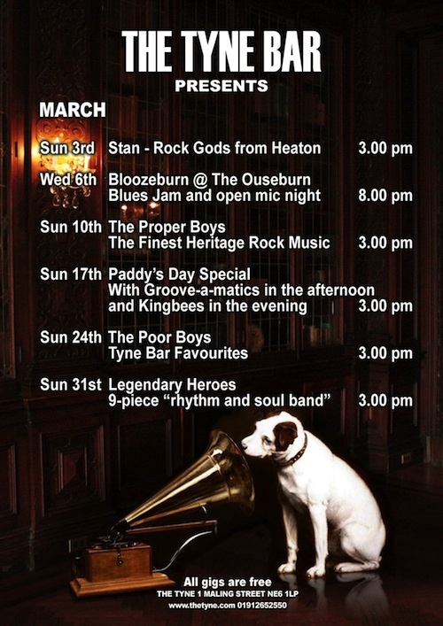 Gigs at The Tyne Bar, March 2013