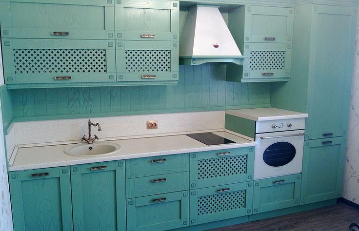 Прямая кухня в стиле прованс 3 метра в голубых тонах
