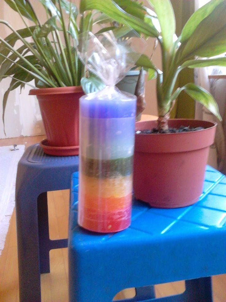 Vela Cilíndrica Cores dos Chakras Energia Kundalin