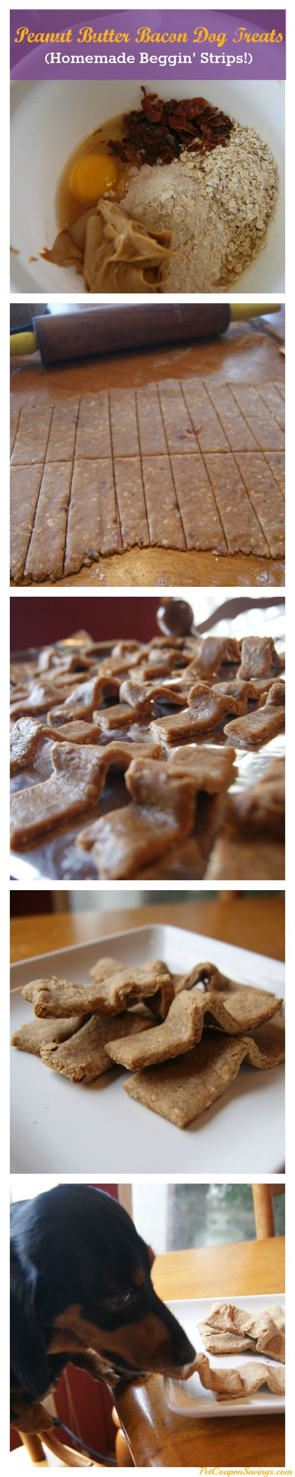 Peanut Butter Bacon Dog Treats (Homemade Beggin' Strips!)  3 pieces of bacon,  1 egg,  ½ cup peanut butter,  ¼ cup beef or chicken broth,  1 cup whole wheat flour,  ½ cup quick cook oats,  1 Tbsp. honey.