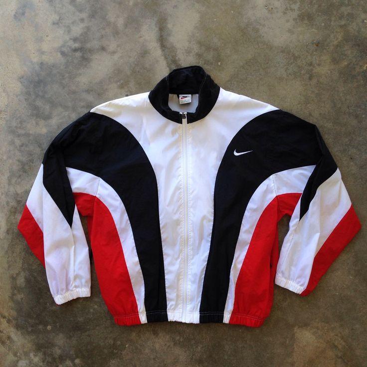 Vintage 90s Nike Red White Black Windbreaker - (Large) by StreetDeco on Etsy