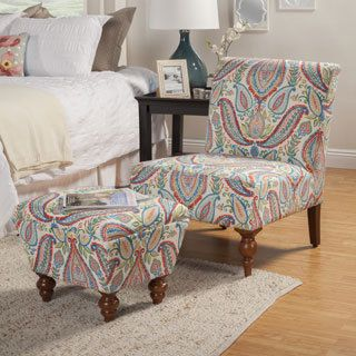 HomePop Coral And Turquoise Paisley Accent Chair Ottoman By