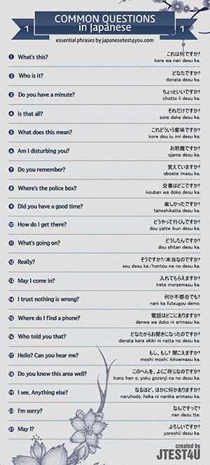 Infographic: common questions in Japanese part 1