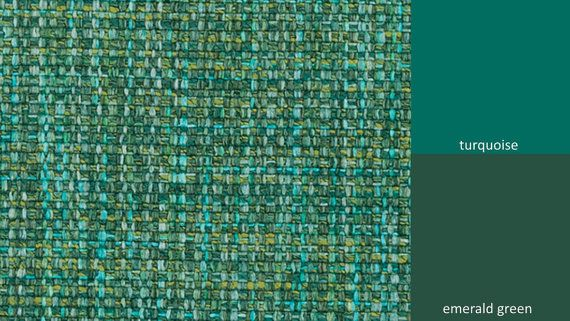 A modern tweed upholstery fabric in a woven design of turquoise and emerald green. This durable fabric is suitable for all furniture, kitchen chair pads, headboards and pillows. See additional color links and custom pillow cover pricing below. This listing is for fabric by the yard.  FABRIC SAMPLES:  Fabric Name for Sample Order: New Castle Order Fabric Swatches Here: https://www.etsy.com/listing/125101789/fabric-sample-order  FABRIC BY THE YARD:  *The listing price i...