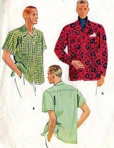 1940s men's shirts Hawaiian print