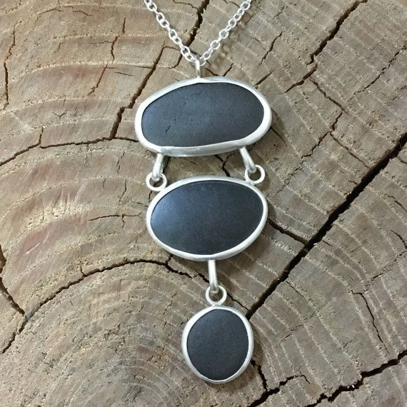 Beach Pebble Necklace. Beach Kairn Pebble Necklace. Beach