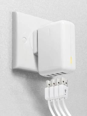 Quartett USB Power Adapter mit Reise-Stromsteckern