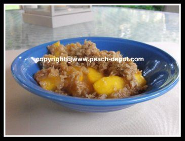 Peach crisp with canned peaches