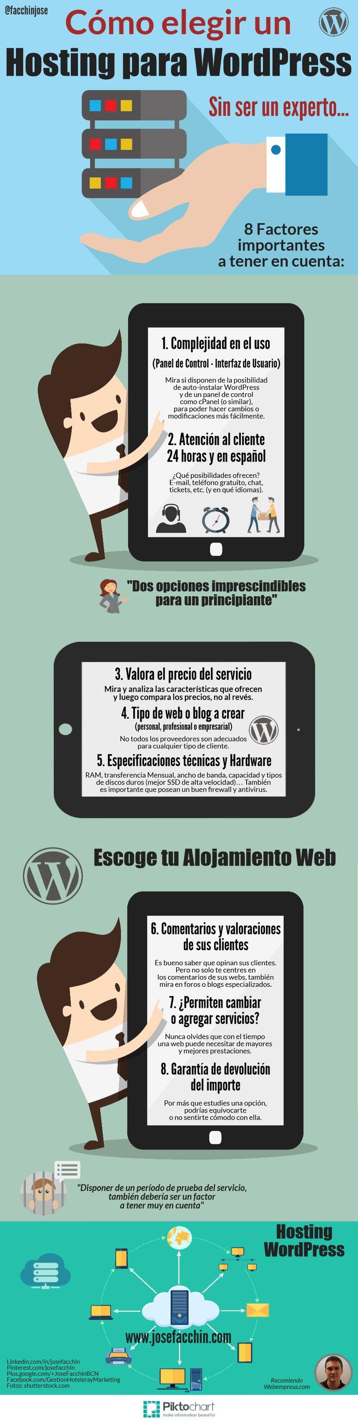 ¿Cómo elegir un Hosting para WordPress sin ser un experto? #Infografía  Factores importantes a considerar antes de elegir un Hosting para WordPress. Porque no equivocarse de proveedor puede favorecer el éxito de un blog o web...