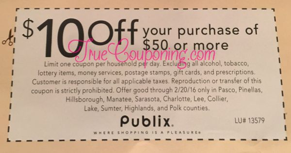 """Big News!! This Sunday, 2/14/16, the Tampa Bay area will receive a """"Total-Dollar-Off"""" coupon from Publix to save $10 off your $50 order! The coupon can be in found in the Tampa Bay Times, Tampa Tribune, Lakeland Ledger, Bradenton Herald and Sarasota Herald Tribune, and Naples News-Press. My Publix …"""