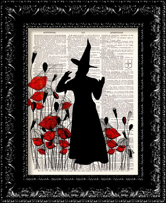 Wizard Of Oz The Wicked Witch Poppy Field - Frank Baum - Dictionary Print Vintage Book Page Art Upcycled Vintage Book Art on Etsy, $8.98