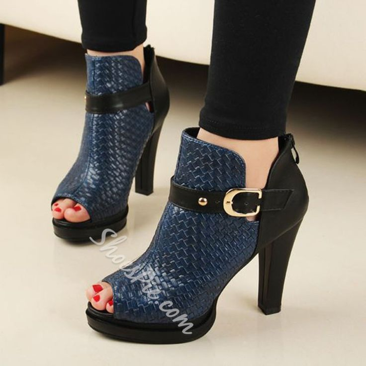 Shoespie Awesome Dark Blue Belted Peep Toe Fashion Booties