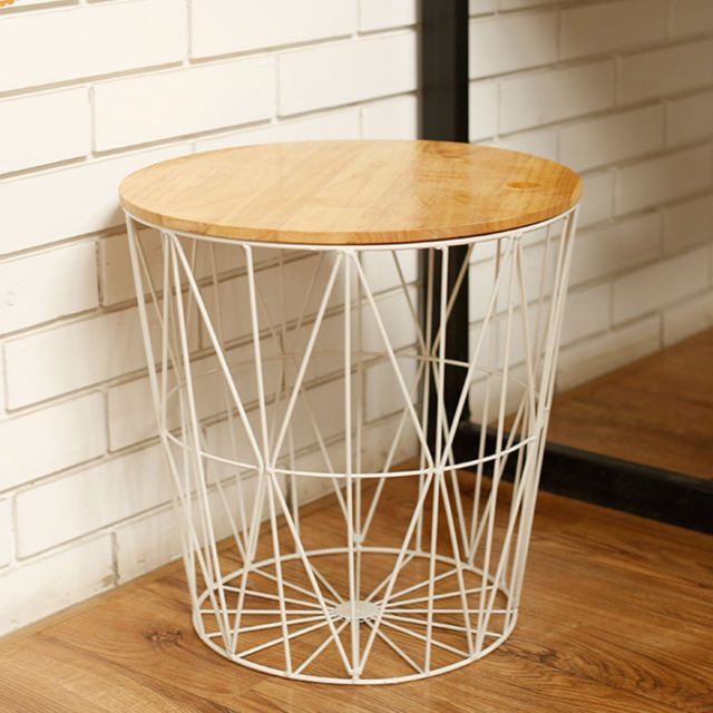 White Metal Wire Basket Wooden Top Side Table Storage Loft Living Home Storage Baskets Metal Decor Coffee Table With Storage