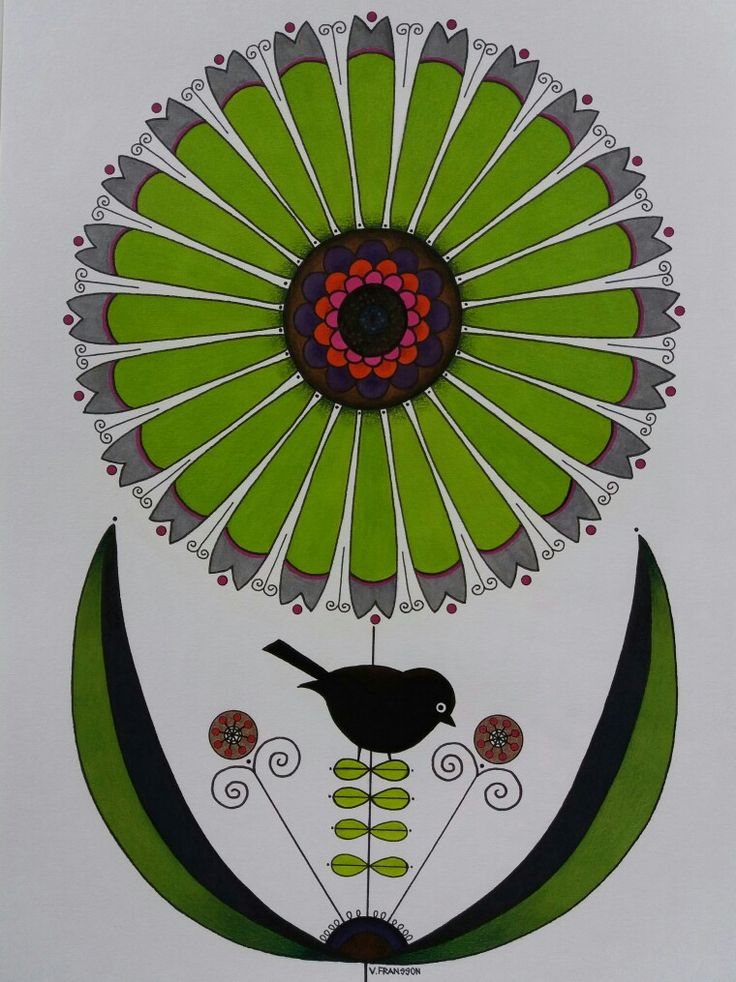 Drawing in ink and colour pencils.Facer castell - Polycromos and Caran d' Ache - Luminance. Flowers and bird in green. Grön blomma och fågel tecknad i bläck och färgpennor. Stilicerad
