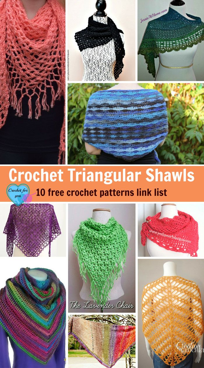 Crochet Triangular Shawl 10 Free Patterns Link List