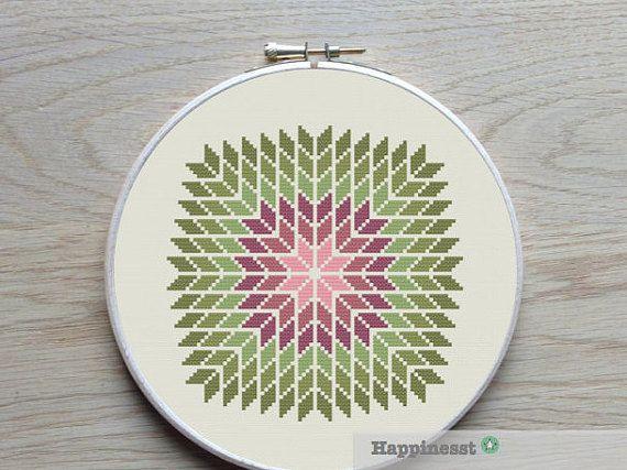 geometric cross stitch pattern giant snowflake by Happinesst