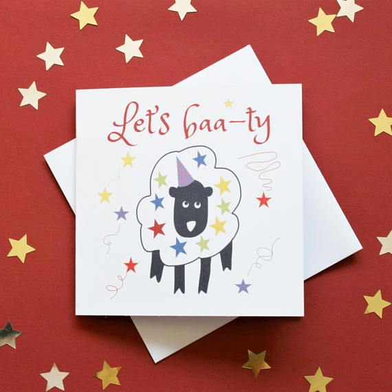 Let's party card funny sheep party card let's baa-ty