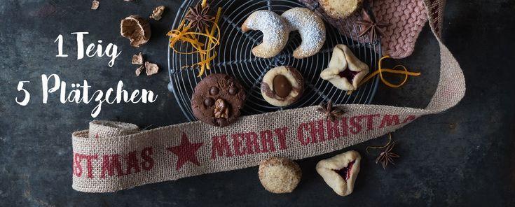 1 veganer Teig, 5 vegane Plätzchen. Sich einfch kann die Weihnachtsbäckerei sein.
