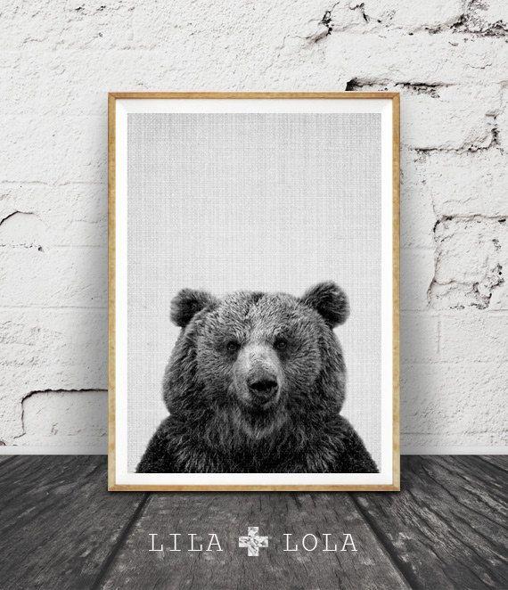 Bear Print, Decor de Woodlands, Wilderness ours Wall Art moderne abstrait noir et blanc impression des animaux, Art imprimable, imprimer des ours de la pépinière par LILAxLOLA sur Etsy