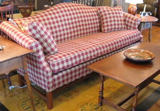 Great sofa in red  amp  white check
