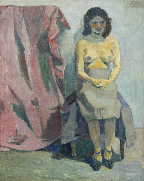 Andrzej Wróblewski - Żółty półakt mały, 1955, olej płótno