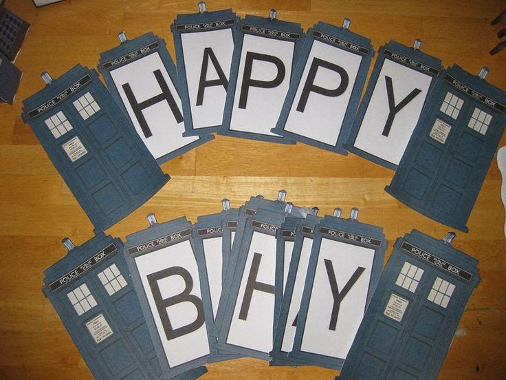 Tardis Happy Birthday Banner. Doctor Who. The Doctor. Doctor Who Birthday. Dr. Who Birthday