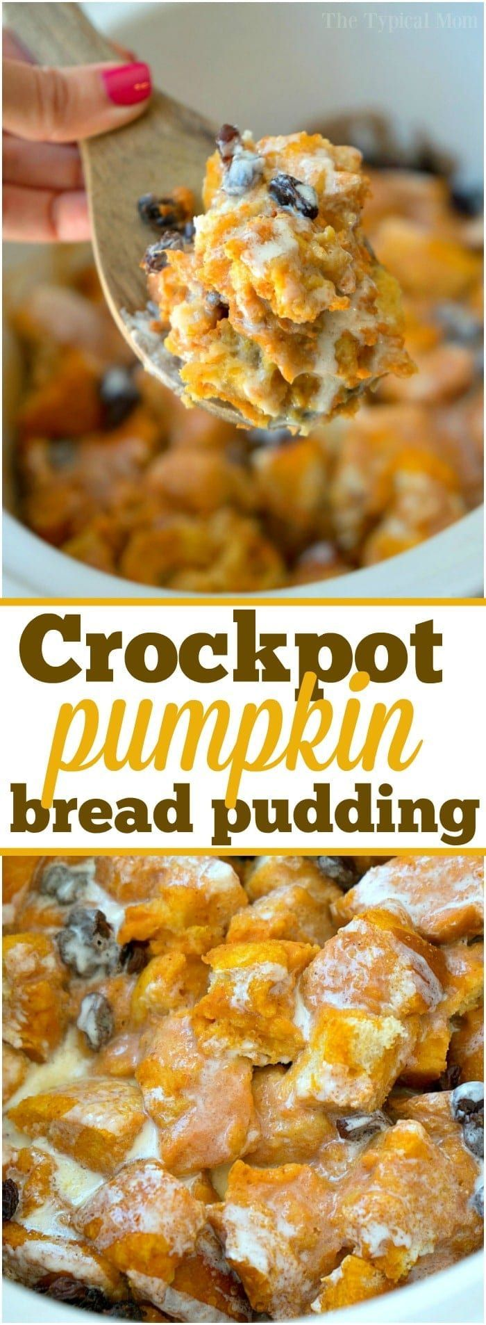 Mar 26, 2020 – Crockpot bread pudding recipe with pumpkin!! This stuff is amazing and SO easy to make too. Perfect Fall …