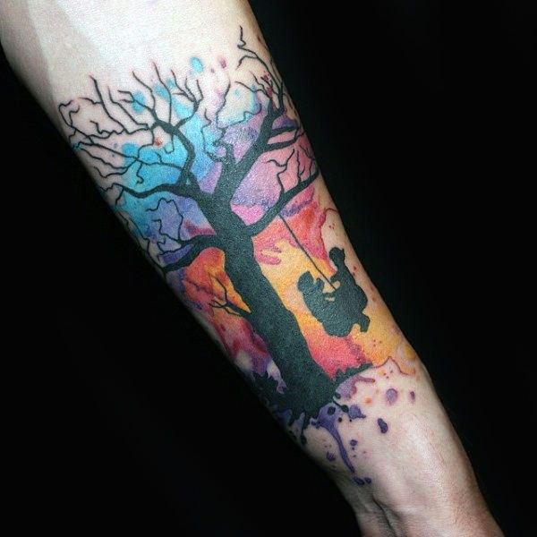 25 Awesome Watercolor Tree Tattoo Ideas Tree Tattoo Designs