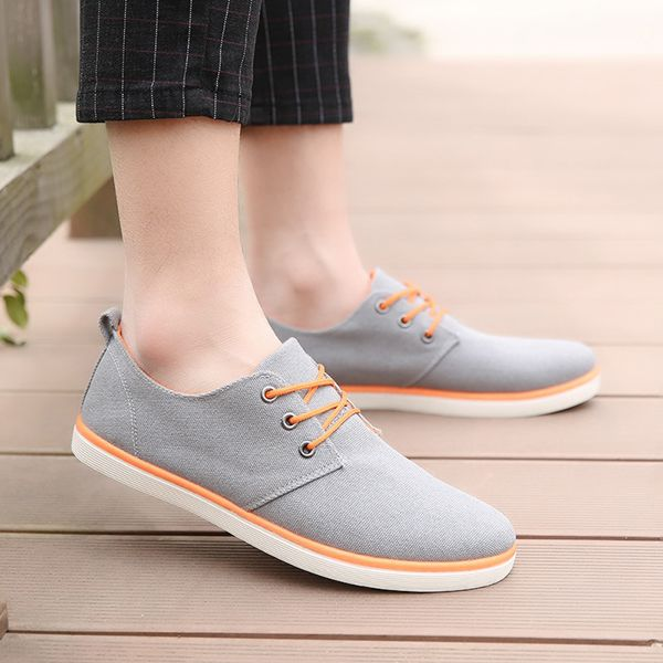 Men Flats Sneakers Fashion Canvas Comfortable Lace-Up Outdoor Casual Sport Shoes