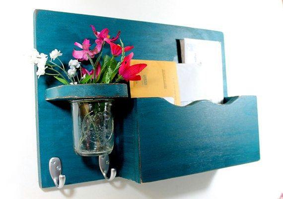 Vintage shelf 2 key hooks with floral wall vase by OldWoodTrader