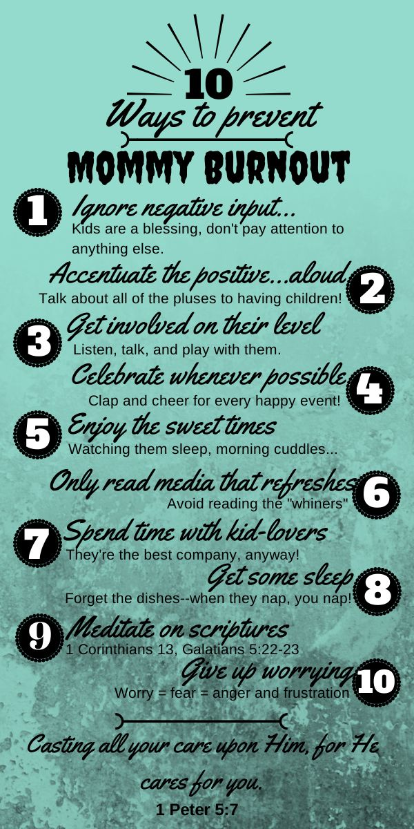 10 ways to prevent mommy burnout