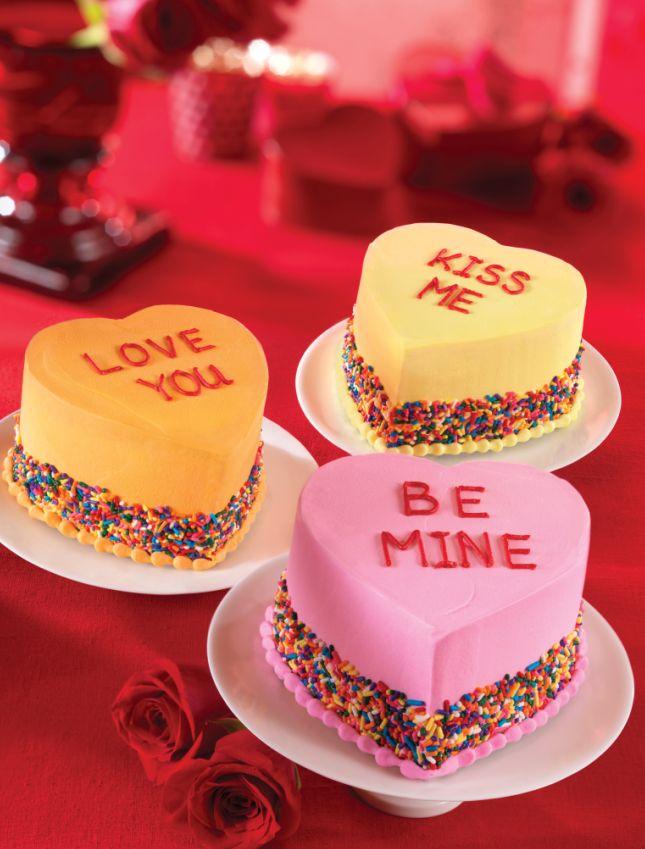 valentines heart cake | ... ' Valentine's Day Conversation Heart Ice Cream Cake