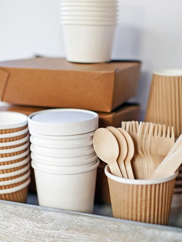 Paper Packaging  in Tips for Hosting a Thanksgiving Potluck Dinner, Plus How to Set Up a To-Go Station from HGTV