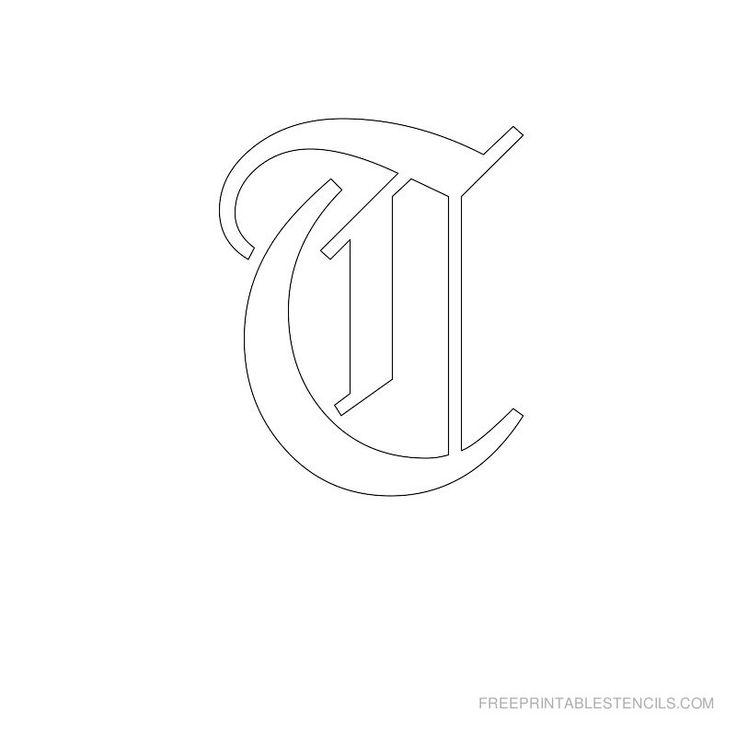 Printable Old English Alphabet Stencil T