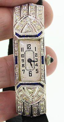 Antique 1930s 2ct Blue Sapphire Diamond Platinum ART DECO Ladies Watch RARE   eBay