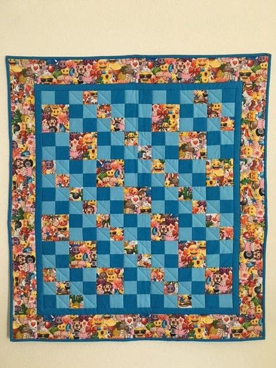 Baby boy quilt Baby quilts handmade Quilts for sale Emoji