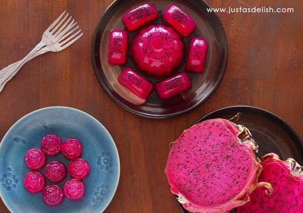 Dragon Fruit Agar Agar Recipe Desserts with water, agar, raw honey, fruit puree, pandanus leaf
